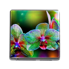 Alien Orchids Floral Art Photograph Memory Card Reader (square)