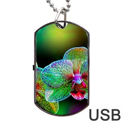 Alien Orchids Floral Art Photograph Dog Tag Usb Flash (one Side)
