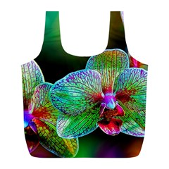 Alien Orchids Floral Art Photograph Full Print Recycle Bags (l)