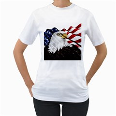 American Eagle Flag Sticker Symbol Of The Americans Women s T Shirt (white) (two Sided)