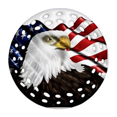 American Eagle Flag Sticker Symbol Of The Americans Round Filigree Ornament (two Sides)