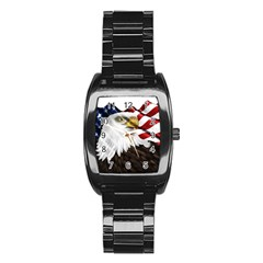 American Eagle Flag Sticker Symbol Of The Americans Stainless Steel Barrel Watch