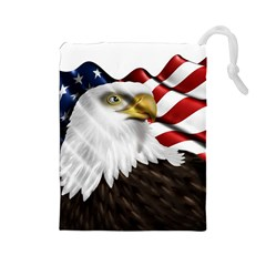 American Eagle Flag Sticker Symbol Of The Americans Drawstring Pouches (large)