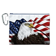 American Eagle Flag Sticker Symbol Of The Americans Canvas Cosmetic Bag (l)