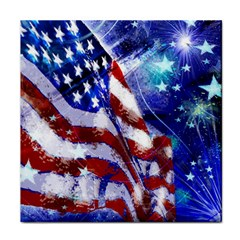 American Flag Red White Blue Fireworks Stars Independence Day Tile Coasters