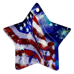 American Flag Red White Blue Fireworks Stars Independence Day Ornament (star)