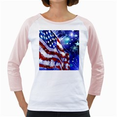 American Flag Red White Blue Fireworks Stars Independence Day Girly Raglans