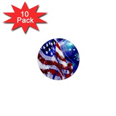 American Flag Red White Blue Fireworks Stars Independence Day 1  Mini Magnet (10 Pack)