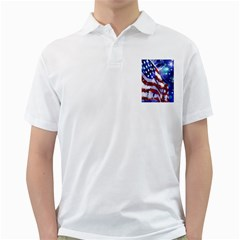 American Flag Red White Blue Fireworks Stars Independence Day Golf Shirts