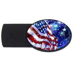 American Flag Red White Blue Fireworks Stars Independence Day Usb Flash Drive Oval (2 Gb)
