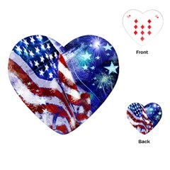 American Flag Red White Blue Fireworks Stars Independence Day Playing Cards (heart)
