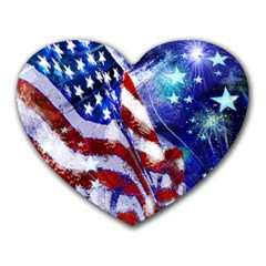 American Flag Red White Blue Fireworks Stars Independence Day Heart Mousepads