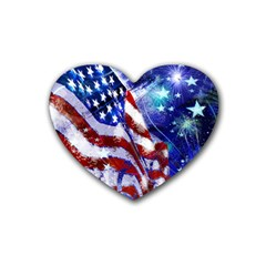 American Flag Red White Blue Fireworks Stars Independence Day Heart Coaster (4 Pack)