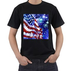 American Flag Red White Blue Fireworks Stars Independence Day Men s T Shirt (black)