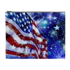 American Flag Red White Blue Fireworks Stars Independence Day Cosmetic Bag (xl)