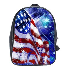 American Flag Red White Blue Fireworks Stars Independence Day School Bags(large)