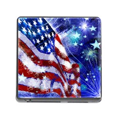 American Flag Red White Blue Fireworks Stars Independence Day Memory Card Reader (square)