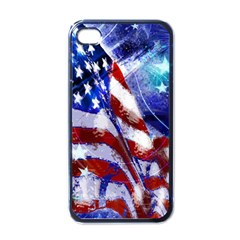 American Flag Red White Blue Fireworks Stars Independence Day Apple Iphone 4 Case (black)
