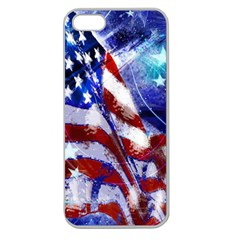 American Flag Red White Blue Fireworks Stars Independence Day Apple Seamless Iphone 5 Case (clear)
