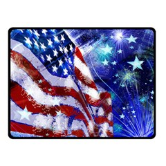 American Flag Red White Blue Fireworks Stars Independence Day Double Sided Fleece Blanket (small)