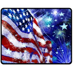 American Flag Red White Blue Fireworks Stars Independence Day Double Sided Fleece Blanket (medium)