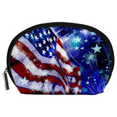 American Flag Red White Blue Fireworks Stars Independence Day Accessory Pouches (large)