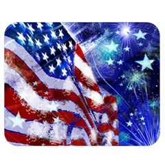 American Flag Red White Blue Fireworks Stars Independence Day Double Sided Flano Blanket (medium)