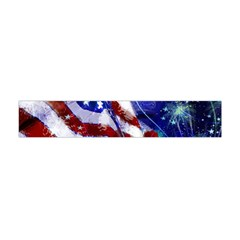 American Flag Red White Blue Fireworks Stars Independence Day Flano Scarf (Mini)