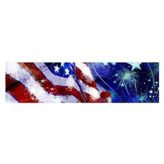 American Flag Red White Blue Fireworks Stars Independence Day Satin Scarf (oblong)