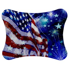 American Flag Red White Blue Fireworks Stars Independence Day Jigsaw Puzzle Photo Stand (Bow)