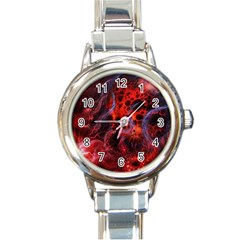Art Space Abstract Red Line Round Italian Charm Watch