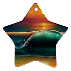 Art Sunset Beach Sea Waves Ornament (star)