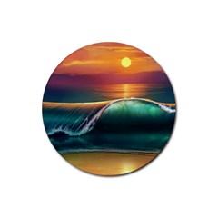 Art Sunset Beach Sea Waves Rubber Coaster (round)