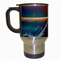 Art Sunset Beach Sea Waves Travel Mugs (white)