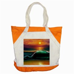 Art Sunset Beach Sea Waves Accent Tote Bag