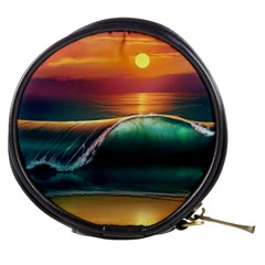 Art Sunset Beach Sea Waves Mini Makeup Bags