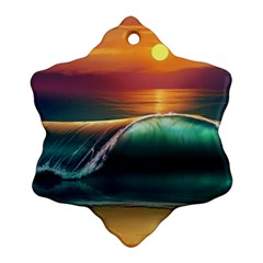 Art Sunset Beach Sea Waves Snowflake Ornament (two Sides)