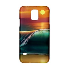 Art Sunset Beach Sea Waves Samsung Galaxy S5 Hardshell Case