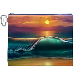 Art Sunset Beach Sea Waves Canvas Cosmetic Bag (xxxl)