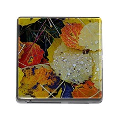 Autumn Rain Yellow Leaves Memory Card Reader (square)