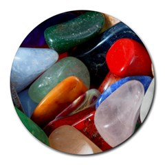 Beautiful Stones In Different Colors Colorful Round Mousepads