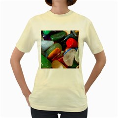 Beautiful Stones In Different Colors Colorful Women s Yellow T Shirt