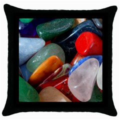 Beautiful Stones In Different Colors Colorful Throw Pillow Case (black)