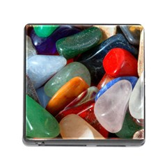 Beautiful Stones In Different Colors Colorful Memory Card Reader (square)