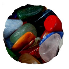 Beautiful Stones In Different Colors Colorful Large 18  Premium Round Cushions