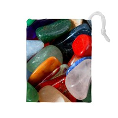 Beautiful Stones In Different Colors Colorful Drawstring Pouches (large)