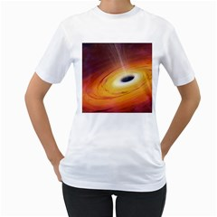 Black Hole Women s T Shirt (white) (two Sided)