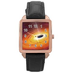 Black Hole Rose Gold Leather Watch