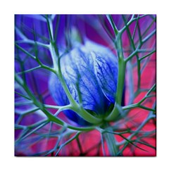 Blue Flowers With Thorns Tile Coasters