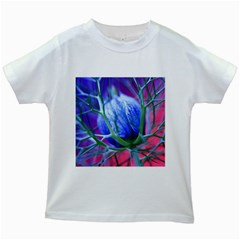 Blue Flowers With Thorns Kids White T Shirts